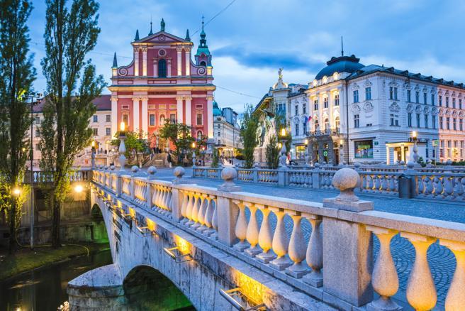 Una imagen del centro de Liubliana (Eslovenia)