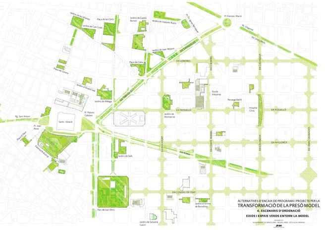 Ejes cívicos y espacios verdes más cercanos a la clausurada cárcel Modelo, que acogerá 14.000 m2 de parque