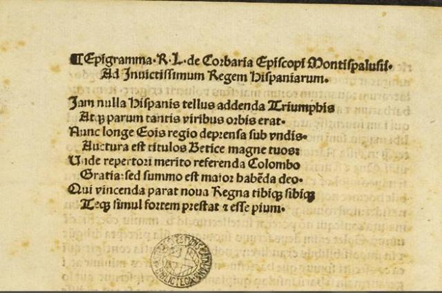 Imagen parcial de la copia de la carta del almirante