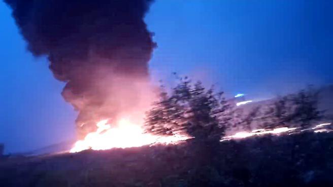 Imágenes del incendio que ha causado el accidente.
