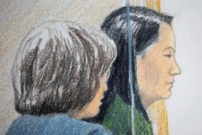 La directora de finanzas de Huawei, Meng Wanzhou, en una audiencia tras su detención