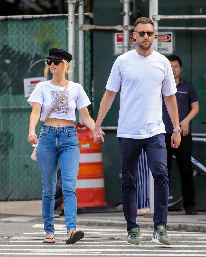 Actress Jennifer Lawrence and her fiance, Cooke Maroney, in New York.