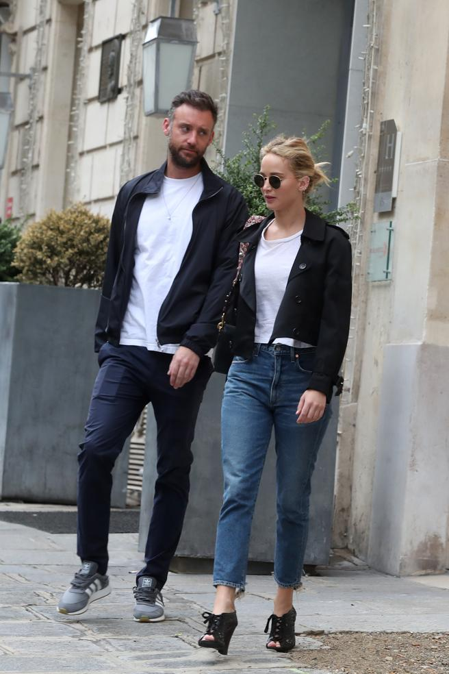 Actress Jennifer Lawrence and her fiance, Cooke Maroney, in Paris in August 2018.