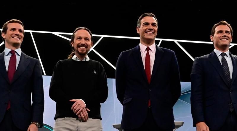 """""""A Pablo Iglesias, los 2 debates televisivos le han puesto cara de candidato y aires de estadista, aunque no vista como tal"""": La Vanguardia de Barcelona."""