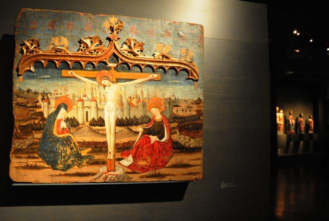 'Calvario', ein Gemälde aus dem 15. Jahrhundert, erworben vom Rektor der Pfarrei Tamarit de Llitera, ausgestellt im Museum von Lleida