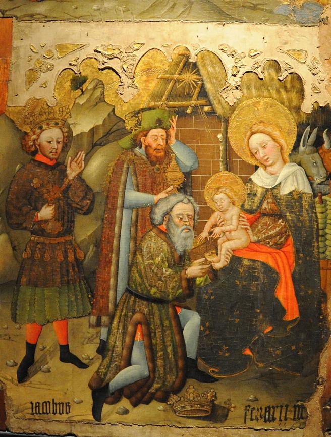 Fragment der Geburts- und Dreikönigstafel von Jaume Ferrer aus dem 15. Jahrhundert aus Binaced, ausgestellt im Museum von Lleida