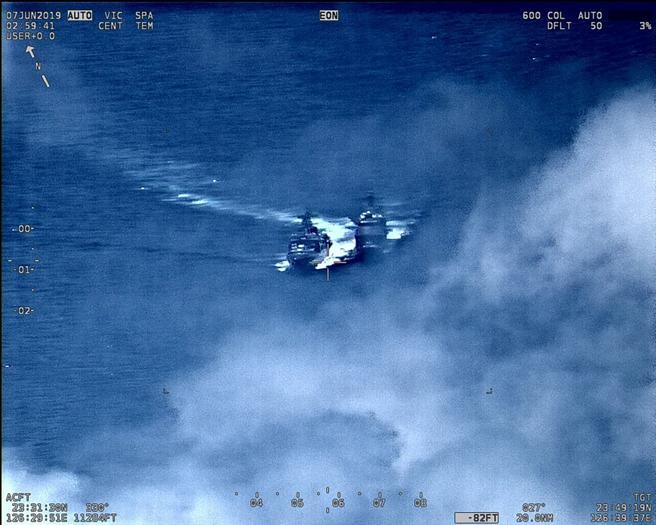 Imagen aérea de los dos buques a punto de colisionar