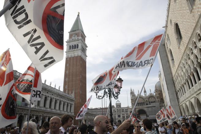 Demonstrators in the vicinity of St. Mark's Square in Venice