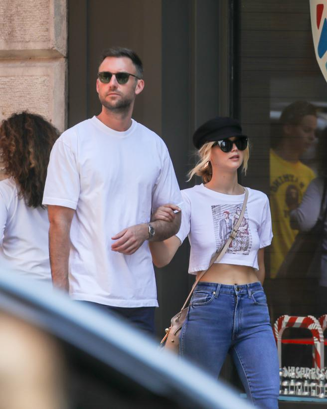 Actress Jennifer Lawrence and husband from today, Cooke Maroney, in New York.