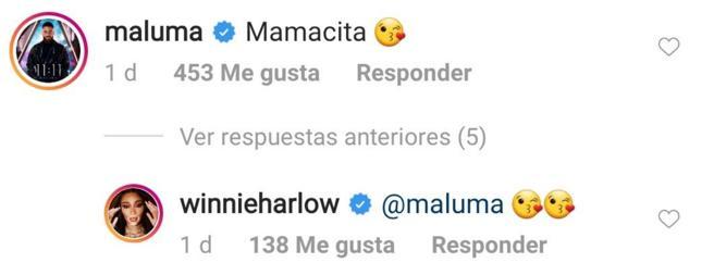 Comentario de Maluma en el Instagram de Winnie Harlow