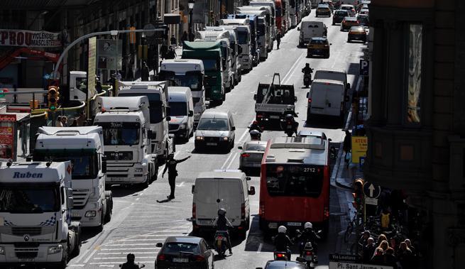 Protesta de transportistas del Port, el pasado marzo