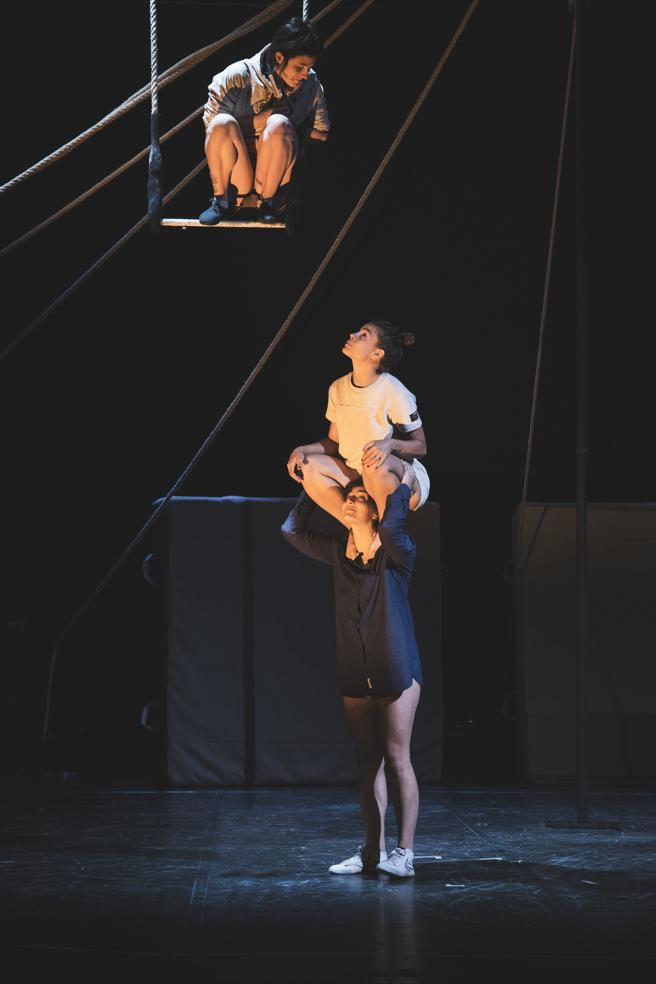 Three performers of 'State of Emergency', first National Circus Production, in the Mercat de les Flors