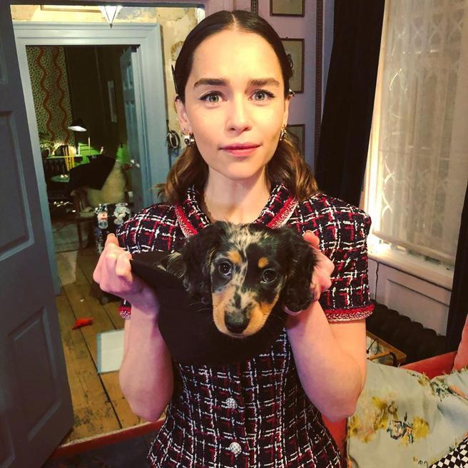 Emilia Clarke, with her dog