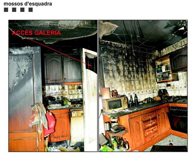 Imagen del interior del piso donde se cometió el crimen y al que luego el acusado prendió fuego el 8 de junio de 2019