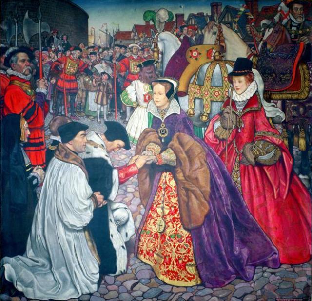 María Tudor entrando en Londres para tomar el poder en 1553.