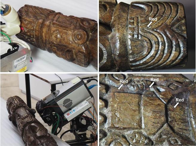 Analyzes have discovered traces of white and yellow paint (in addition to red) in the statue