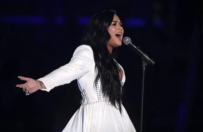 Demi Lovato performs 'Anyone' at the Grammys 2020 on Sunday, Jan. 26, 2020, in Los Angeles. (Photo by Matt Sayles/Invision/AP)