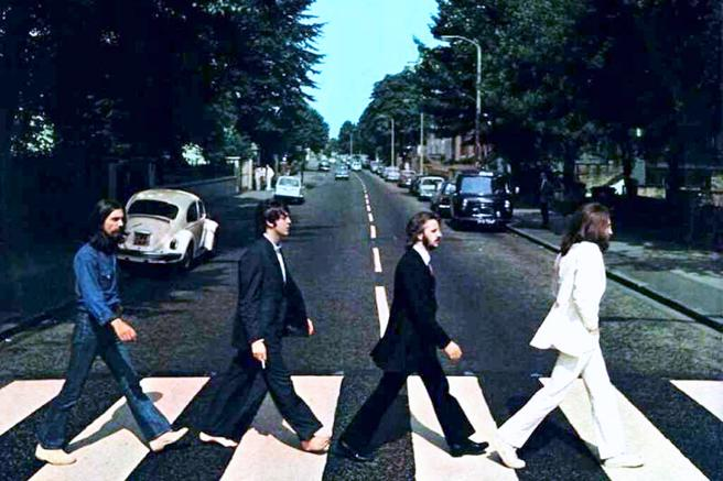 Beatles crossing the now famous Abbey Road in London, in 1969.