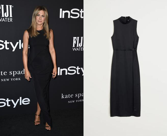 Jennifer Aniston in a black dress long. To the right, Handle design with a belt built in (59,99 euros)