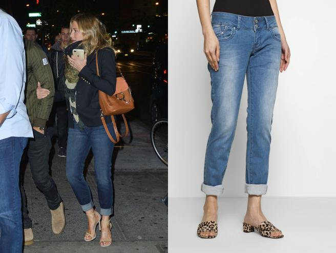 Jennifer Aniston in jeans 'slim fit'. To the right, jeans LTB (69,95€) on sale at Zalando