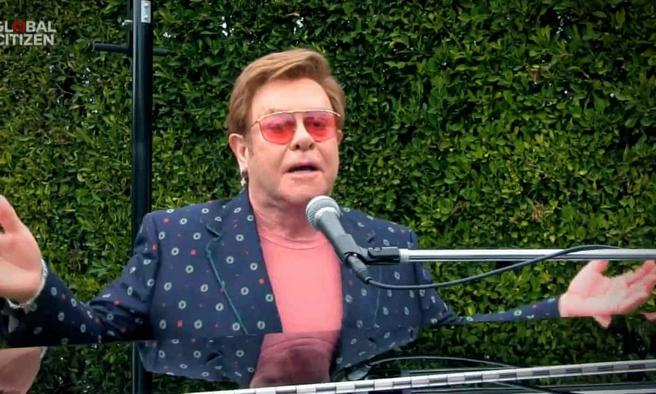 Elton John during his performance in the macro-concert in solidarity of a Global Citizen