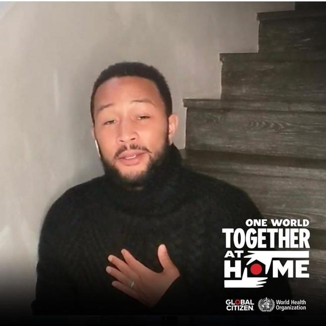 John Legend during his performance in the macro-concert in solidarity of a Global Citizen