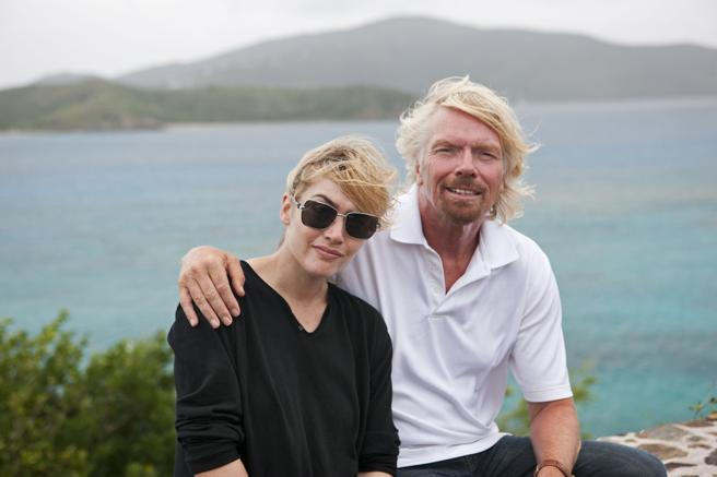 Richard Branson with the actress Kate Winslet.