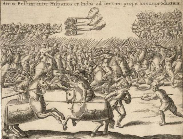 Batalla entre españoles y mapuches durante la guerra de Arauco, por Alonso de Ovalle.