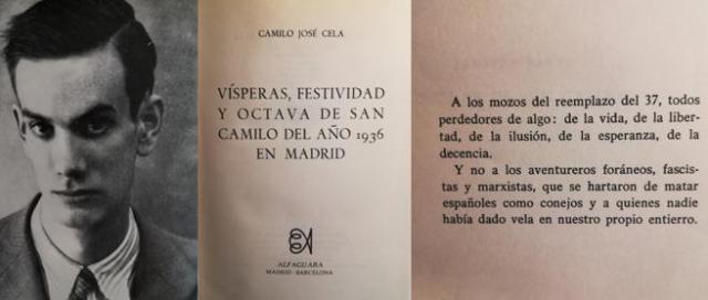 Cela, en 1936, su novela y la dedicatoria (© Alfaguara)