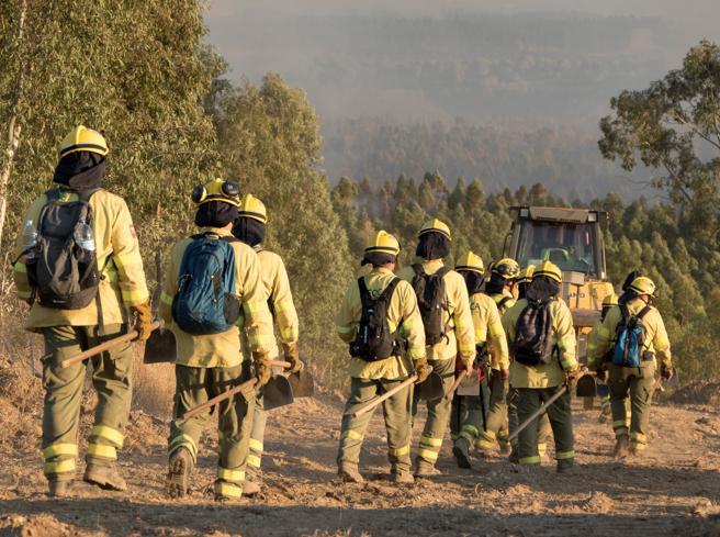Trabajadores del Infoca, en la zona del incendio.