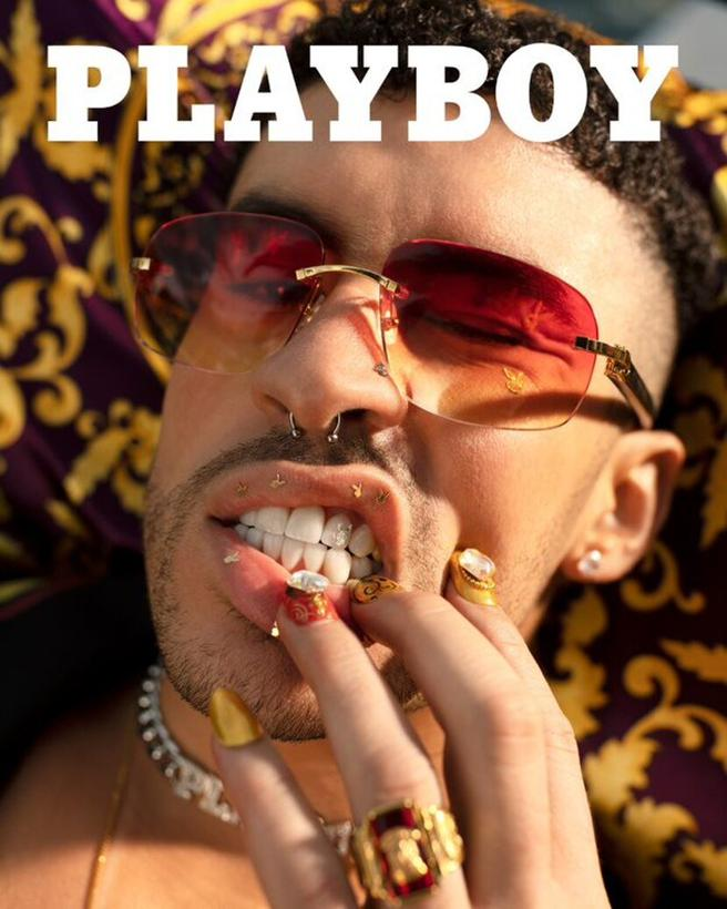 Bad Bunny on the digital cover of Playboy