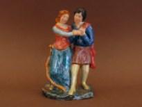 Statuina di innamorati in ceramica foggiata e dipinta a mano