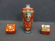 Vaso e scatole Raffaellesco, ceramica di Faenza