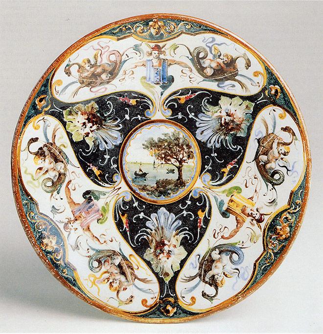 Alzata stile storicistico (raffaellesco) - Faenza, Manifattura Ferniani, fine XIX secolo