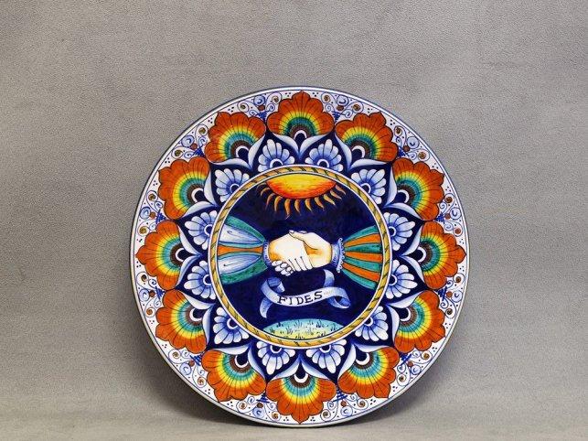 """piatto ceramica """"fides"""" mani intrecciate"""