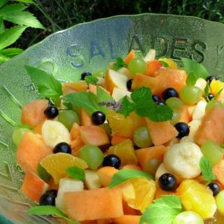 Peachy Fresh Fruit Salad with a Flourish of Angelica and Mint