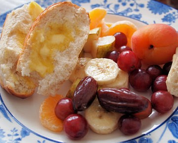 A Large Slice of Baguette with my Breakfast Club Detox Fruit Salad