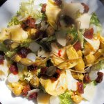 Frisée Salad with Artichoke Hearts, Membrillo, Manchego Cheese & Sun-Dried Tomatoes