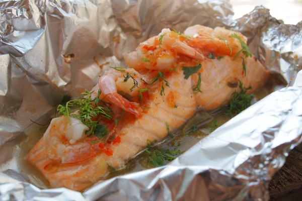 BBQ Salmon Fillets in a Parcel with Prawns, Chilli, Garlic and Lime