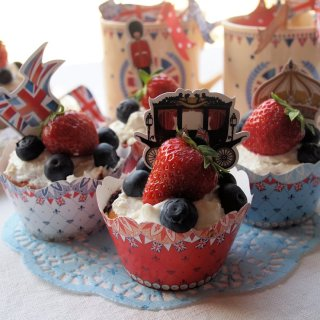 Red., White and Blue Strawberries and Cream Jubilee Cakes