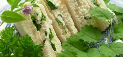 Summer Solstice Sandwiches – Cheese and Tomato with Salad Cream and Herb Garden Tea Sandwiches with Cream Cheese