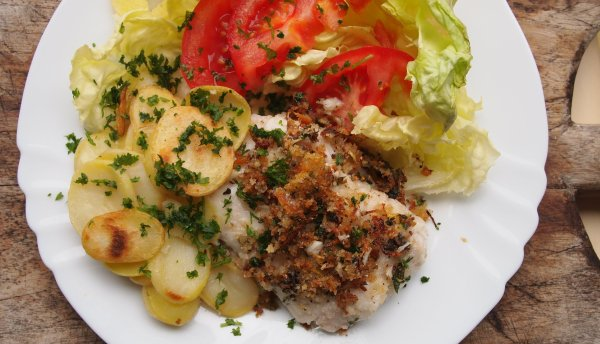 Pan-Fried Lemon, Parmesan and Herb Crusted Hake