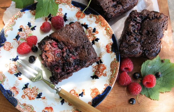 Double Chocolate and Summer Berries Truffle Slice