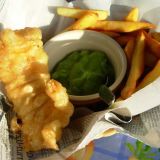 A Video,Yorkshire Fish Pie and Fish & Chips in a Basket with Mushy Peas for Fish on Friday