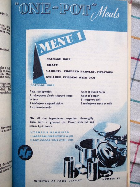Menu One from One-Pot Meals - Ministry of Food leaflet number 35: