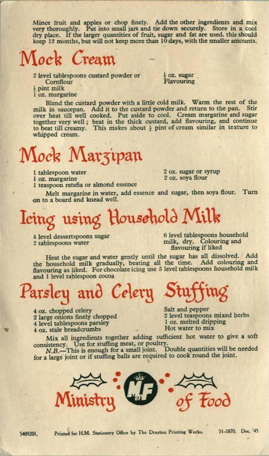 Christmas Recipes leaflet - back