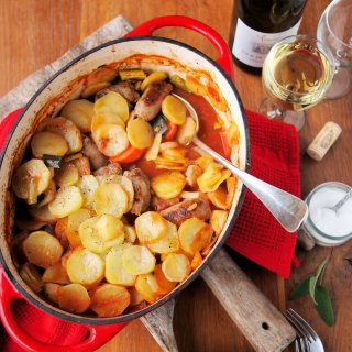 "Five-A-Day Family Supper Recipe: ""Sunday Lunch"" Chicken, Sausage and Vegetable Hotpot"