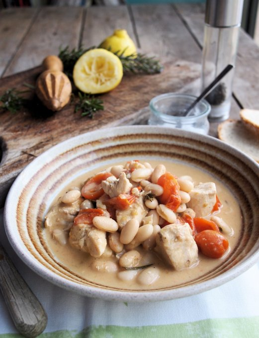 Lemon Chicken with Cannellini Beans and Rosemary