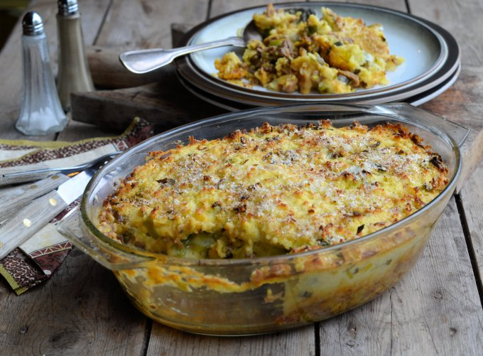Spicy Shepherd's Pie with a Cheesy Leek Topping