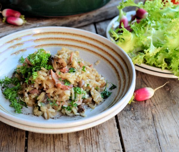 Bacon, Wine and Risotto on a Diet! Easy Baked Bacon and Mushroom Risotto Recipe (5:2 Diet)